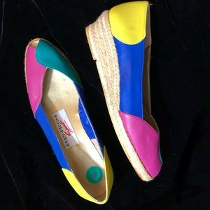 🌈 VTG 1980's Rainbow Color Block Leather Wedges🌈